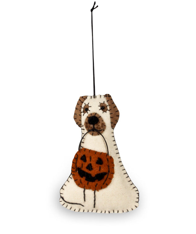 Bethany Lowe Spooky Ghost Dog Fabric Ornament-Ornament-Oakview Collectibles