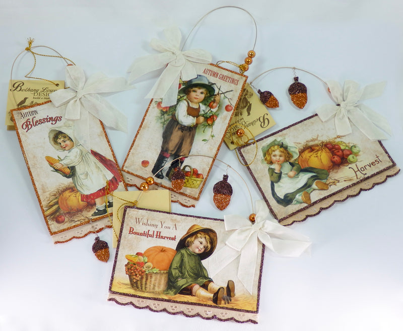 Bethany Lowe Harvest Postcard Ornaments Set of 4-Ornament-Oakview Collectibles