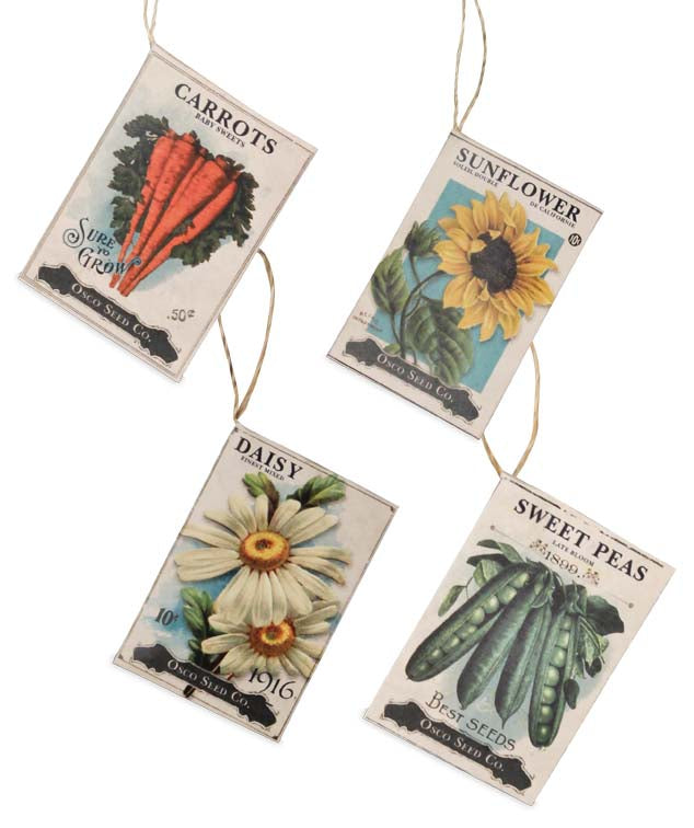 Bethany Lowe Seed Packet Ornament Set of 4-Ornament-Oakview Collectibles