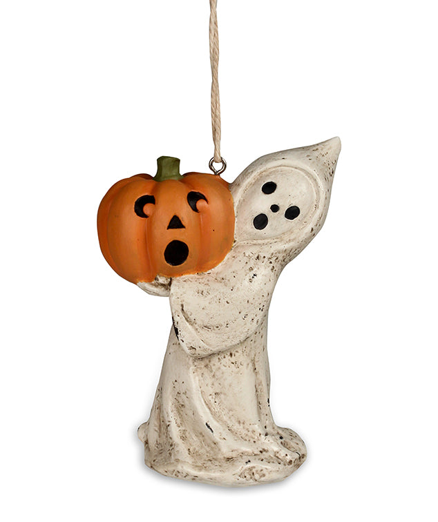 Bethany Lowe Little Ghost with Jack O Lantern Ornament-Ornament-Oakview Collectibles