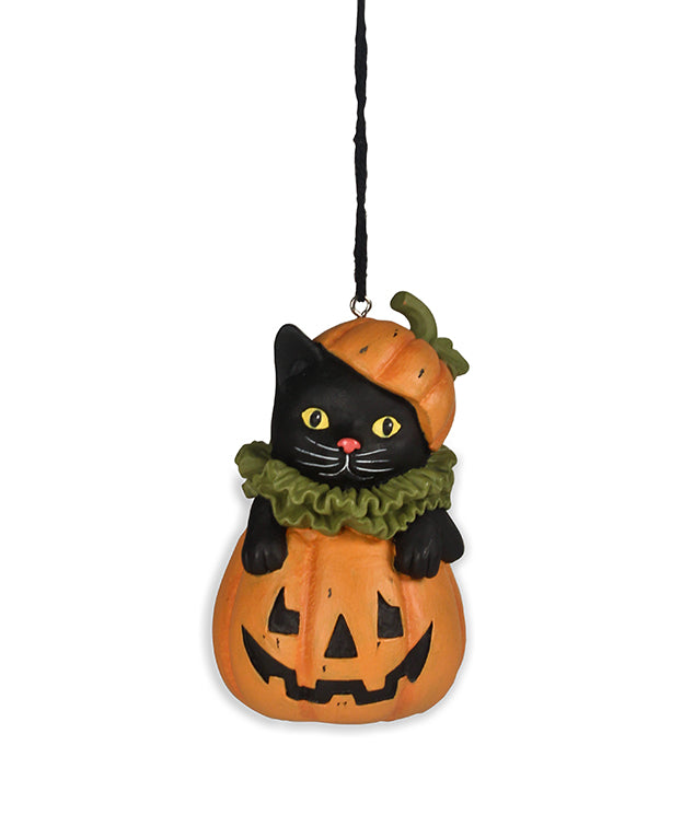 Bethany Lowe Black Cat in Jack O Lantern Ornament-Ornament-Oakview Collectibles