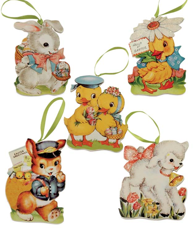 Bethany Lowe Retro Easter Die Cut Ornament Set of 5-Ornament-Oakview Collectibles