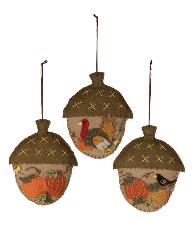 Bethany Lowe Thanksgiving Acorn Applique Ornament Set of 3-Ornament-Oakview Collectibles