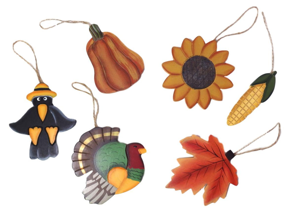Darice Painted Wood Fall Ornament Set of 6-Ornament-Oakview Collectibles