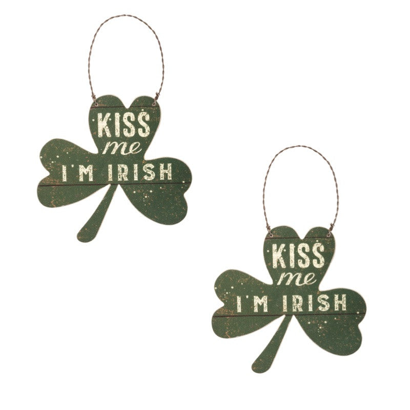 Primitives By Kathy Kiss Me I'm Irish Ornament Set of 2-Ornament-Oakview Collectibles