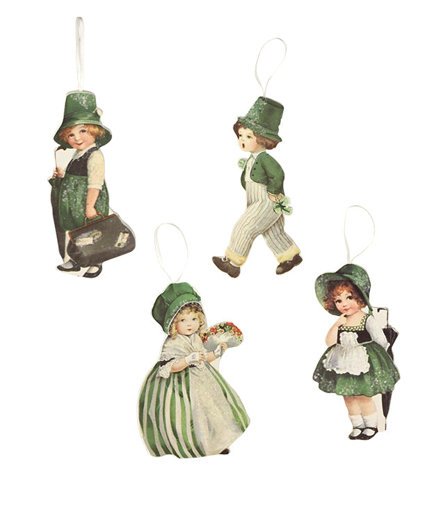 Bethany Lowe Luck O The Irish Dummy Board Ornament Set of 4-Ornament-Oakview Collectibles