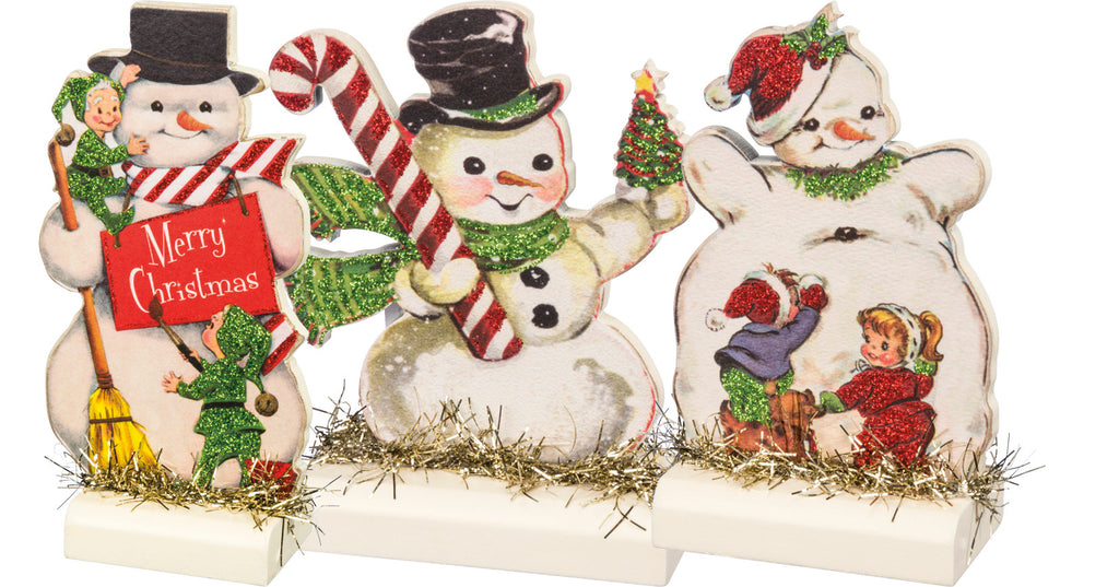 PBK Retro Snowmen Stand Ups Set of 3