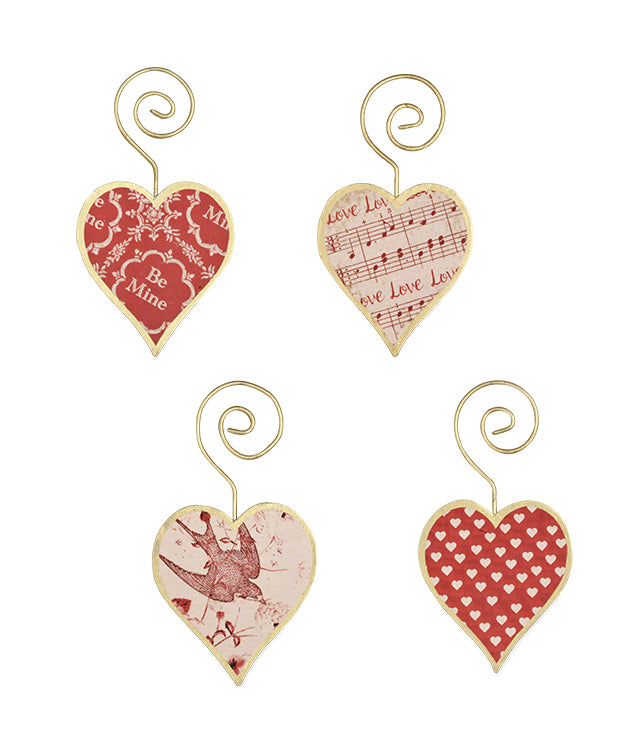 Bethany Lowe Tin Heart Ornament Set of 4-Ornament-Oakview Collectibles