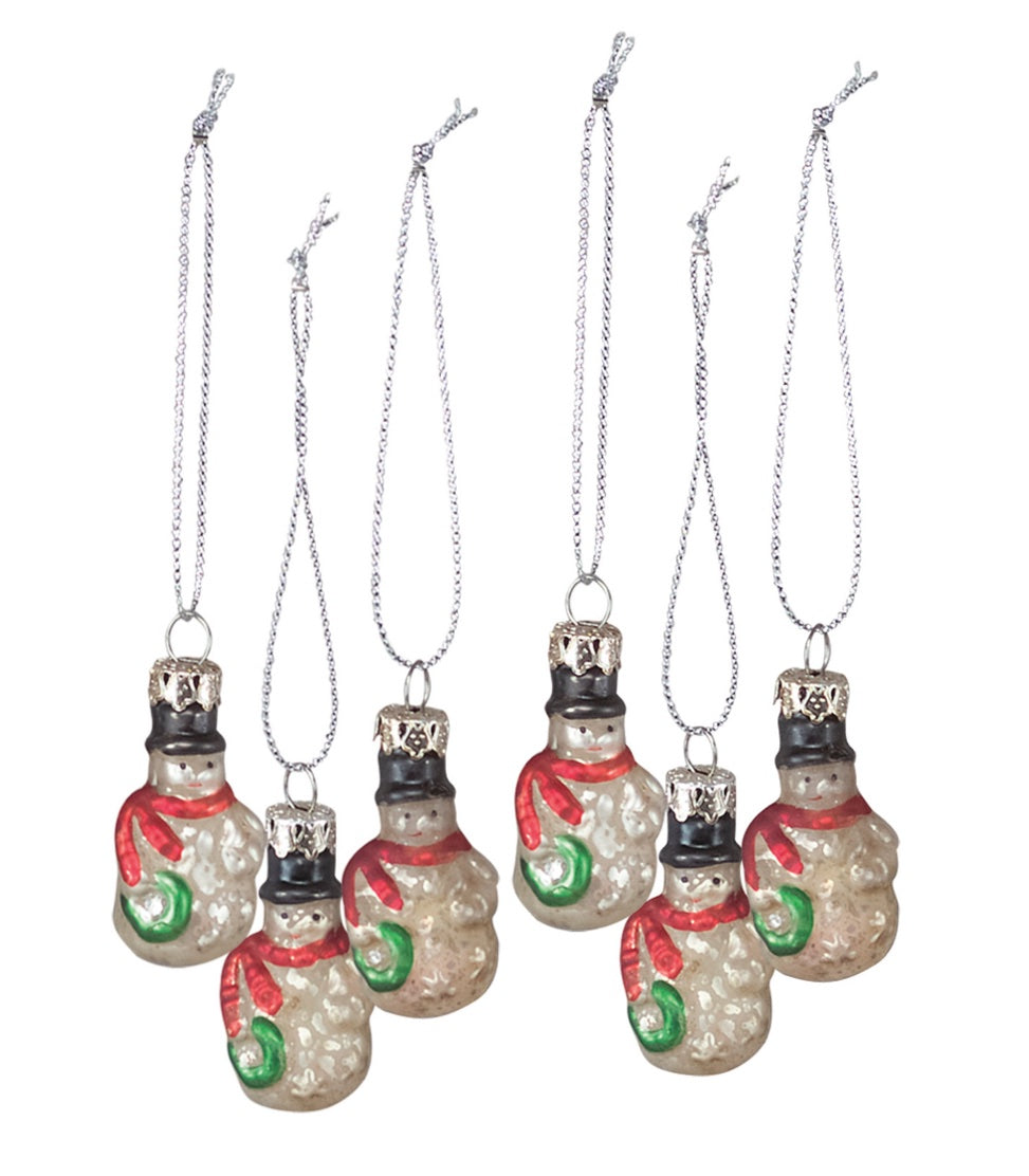 PBK Snowman Miniature Glass Ornament Set of 6-Ornament-Oakview Collectibles