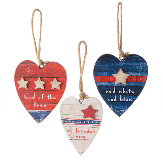 Patriotic Heart Ornament Set of 3-Ornament-Oakview Collectibles
