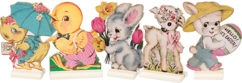 Primitives By Kathy Retro Easter Stand Ups Set of 5-Dummy Boards-Oakview Collectibles