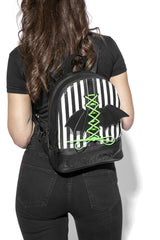 Bat Wing Stripe - Lace Up Backpack