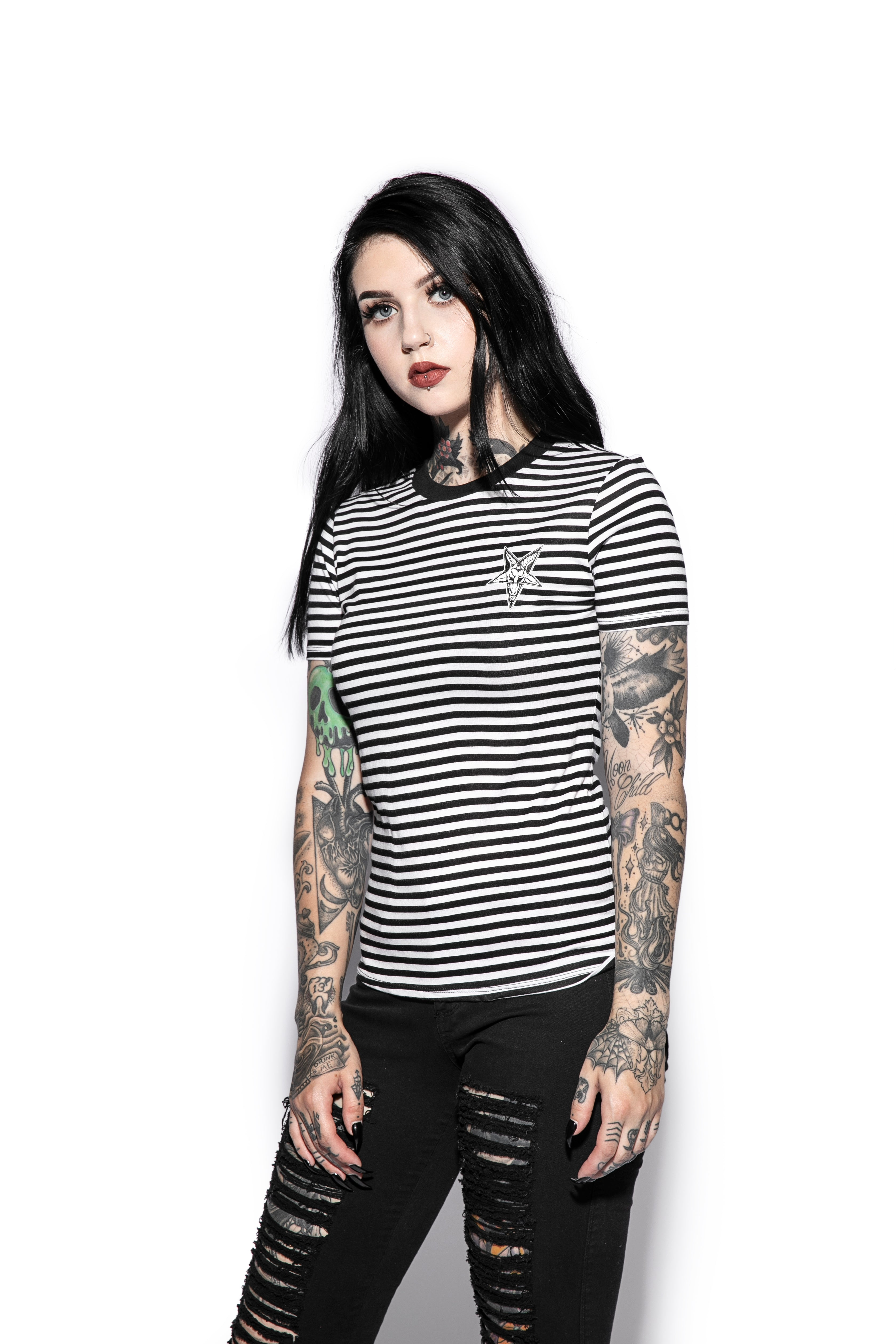 Baphomet - Striped Women's Tee