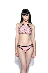 Pink Pentagram Rose Mesh Swim Top