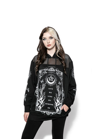 Love Me Like My Demons Do - Oversized Mesh Hoodie
