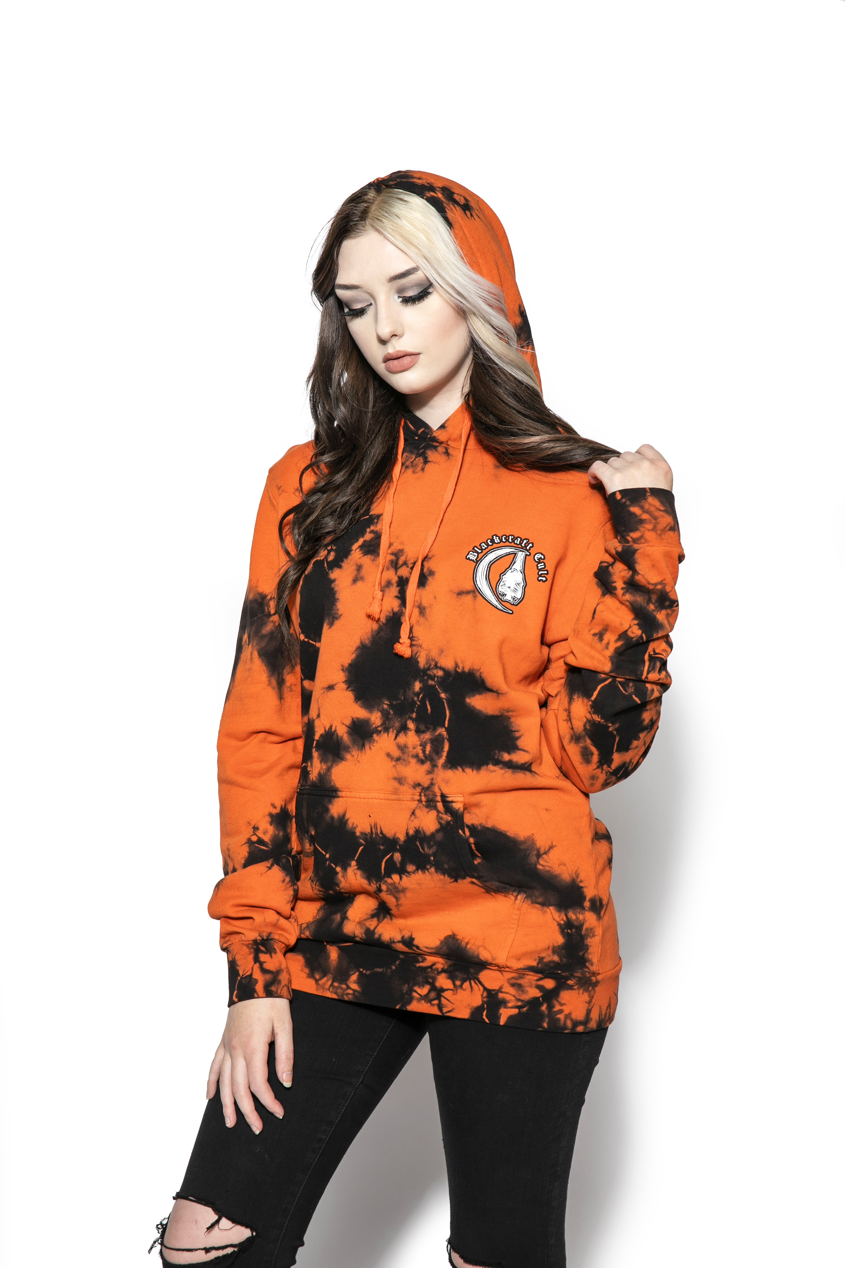 Release The Bats - Orange Lightning Dye Hooded Pullover