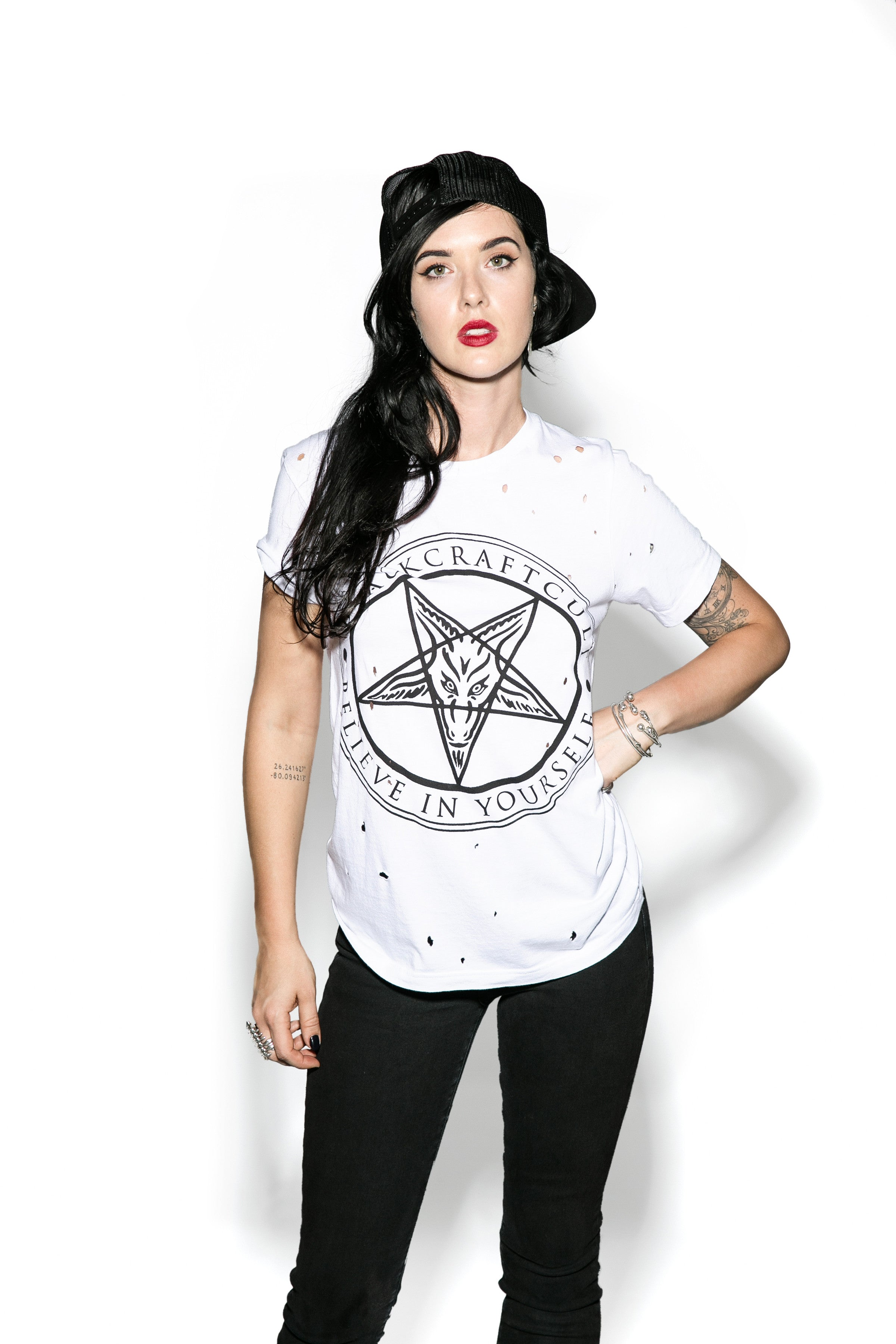 Believe In Yourself - White Unisex Distressed Tee