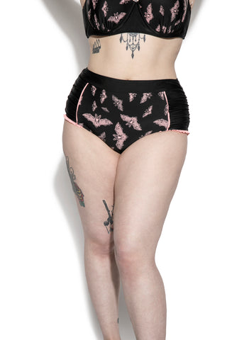 Pink Bat High Waist Swim Bottom