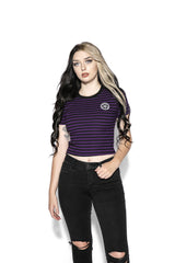 Believe In Yourself - Purple Striped Women's Crop Tee