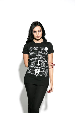 Hail Satan And Drink Coffee - Women's Tee