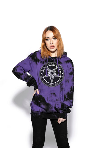Believe In Yourself - Purple Lightning Dye Hooded Pullover