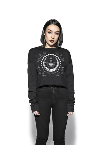 Moth Moon Phase - Women's Cropped Crewneck