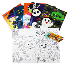 Tiny Mills - Halloween Coloring Books with Crayons Party Favors