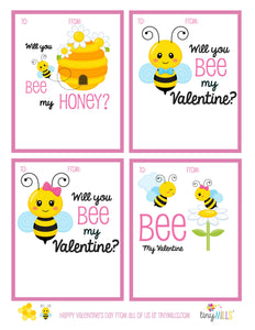 Free Printable Valentine's Day Cards - Bee My Valentine