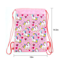 Load image into Gallery viewer, Unicorn Drawstring Backpack with Wristlet 2 Piece Set Travel Gym Cheer (Pink)
