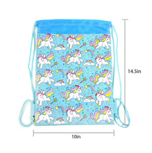 Load image into Gallery viewer, Unicorn Drawstring Backpack with Wristlet 2 Piece Set Travel Gym Cheer (Blue)