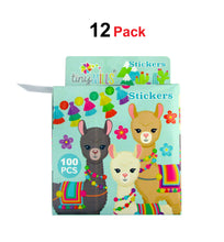 Llamas Alpacas Stickers 100 Stickers/Dispenser, Pack of 1, 6, or 12 Dispensers - Sticker Set | Tiny Mills®