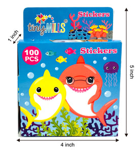 Shark Family Stickers 100 Stickers/Dispenser, Pack of 1, 6, 12 Dispensers