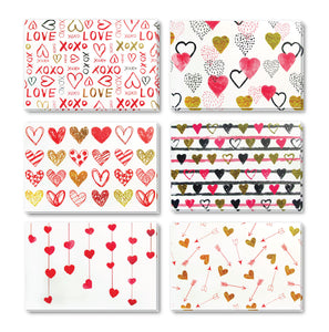 Hearts - 36 Pack Assorted Greeting Cards for All Occasions - 6 Design