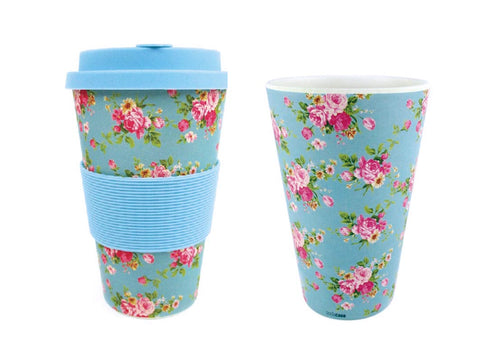 Eco-Friendly Reusable Plant Fiber Travel Mug with Blue Floral Design