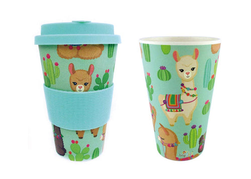 Eco-Friendly Reusable Plant Fiber Travel Mug with Llama Alpaca Design