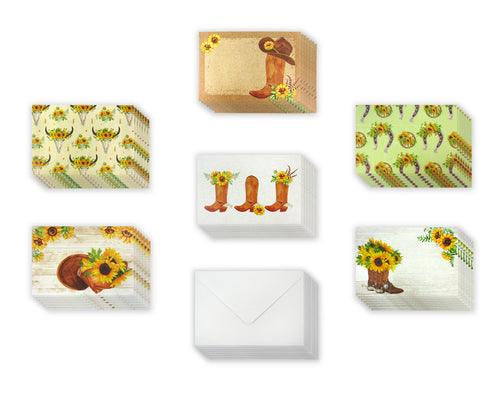Sunflower Cowboy Boots Western - 36 Pack Assorted Greeting Cards for All Occasions - 6 Design