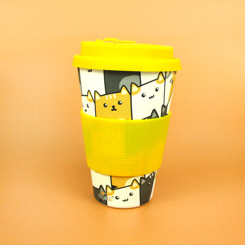 Eco-Friendly Reusable Plant Fiber Travel Mug with Kitty Cat Design