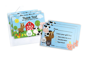 Farm Animals Fill-in Birthday Thank You Cards for Kids