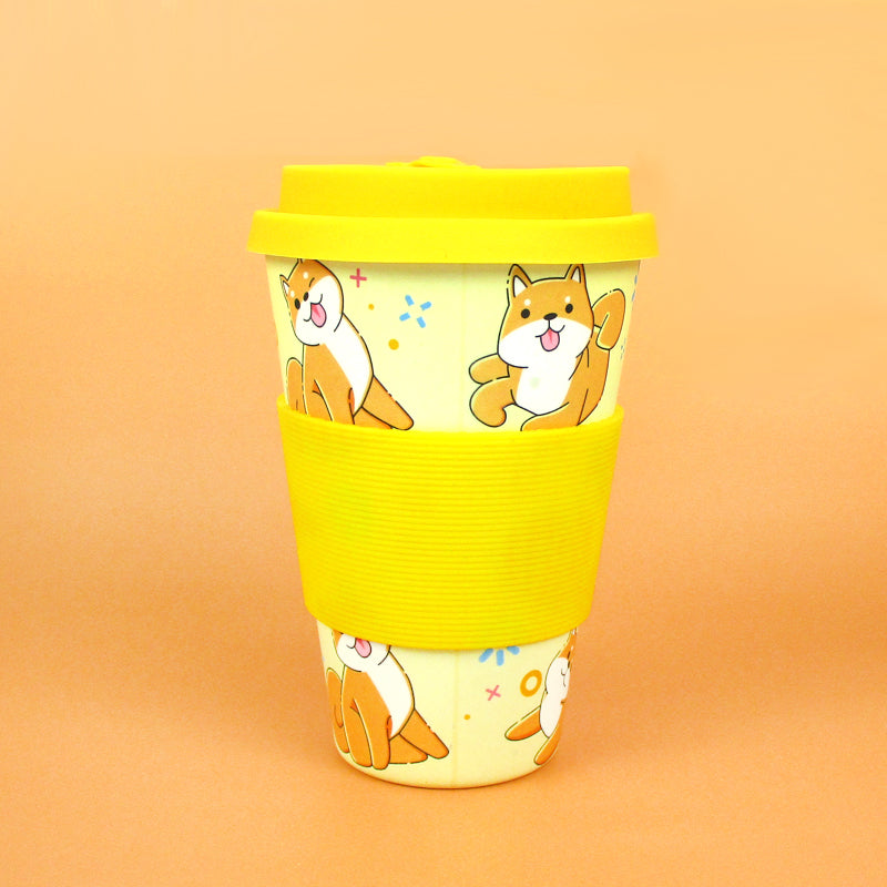 Eco-Friendly Reusable Plant Fiber Travel Mug with Shiba Inu Dog Design