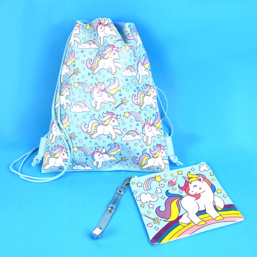 Unicorn Drawstring Backpack with Wristlet 2 Piece Set Travel Gym Cheer (Blue) - Backpacks | Tiny Mills®