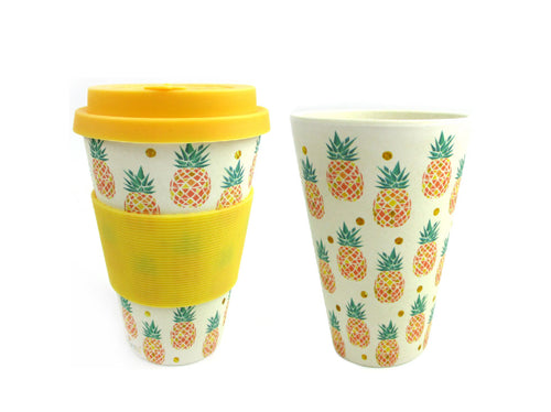 Eco-Friendly Reusable Plant Fiber Travel Mug with Tropical Pineapple Design