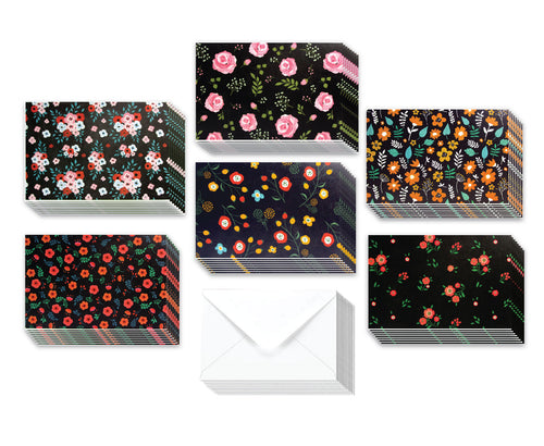 Black Floral - 36 Pack Assorted Greeting Cards for All Occasions - 6 Design