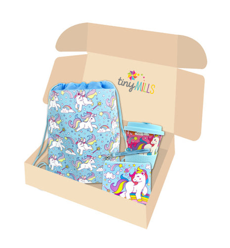 Blue Unicorn Birthday Party Gift Boxes for Kids