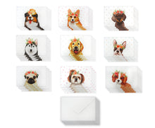 Load image into Gallery viewer, Dogs with Floral Crowns - 36 Pack Assorted Greeting Cards for All Occasions - 9 Design