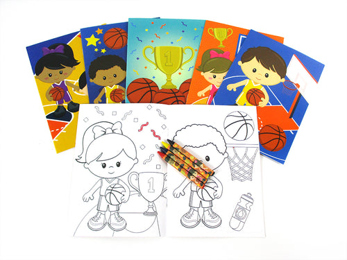 Basketball Coloring Books with Crayons Party Favors - Set of 6 or 12