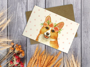 Dogs with Floral Crowns - 36 Pack Assorted Greeting Cards for All Occasions - 9 Design