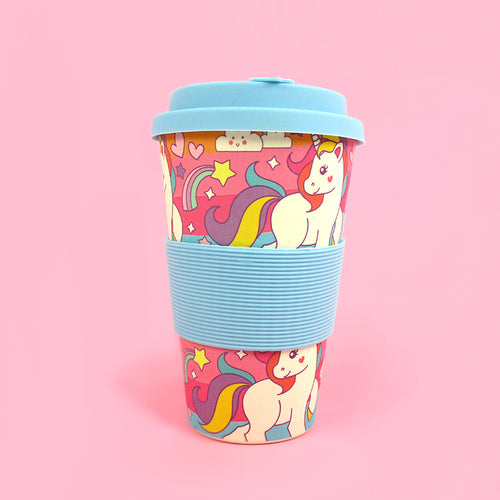 Eco-Friendly Reusable Plant Fiber Travel Mug with Unicorn Design