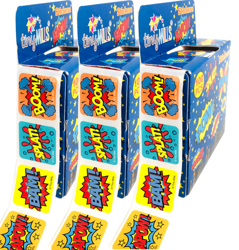 Superhero Stickers 100 Stickers/Dispenser, Pack of 12 Dispensers