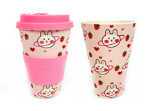 Load image into Gallery viewer, Eco-Friendly Reusable Plant Fiber Travel Mug with Pink Bunny Design