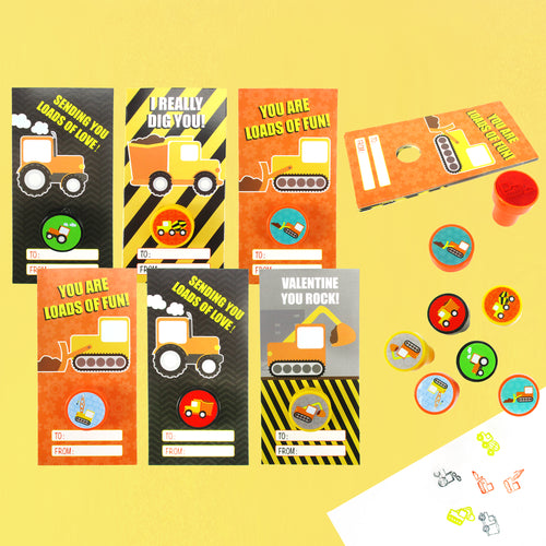 Construction Cards with Stampers for Classroom Birthday Party Favors